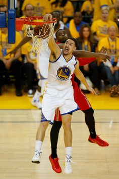 Description of . Golden State Warriors' Klay Thompson (11) dunks the ball past Houston Rockets' Terrence Jones (6) in the third quarter of Game 2 of the NBA Western Conference finals at Oracle Arena in Oakland, Calif., on Thursday, May 21, 2015. (Nhat V. Meyer/Bay Area News Group)