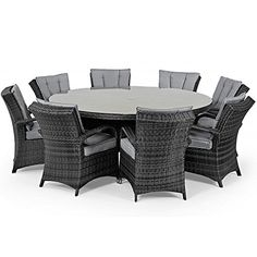 san diego rattan outdoor garden furniture houston grey 8 seater round table set