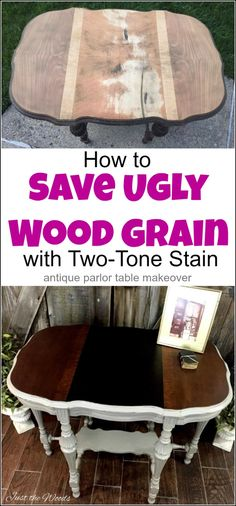 Antique parlor table makeover - How to Save Ugly Wood Grain Victorian antique parlor table makeover with damaged wood grain. Save ugly wood grain with a two-tone stain on your next painted furniture project Diy Furniture Projects, Repurposed Furniture, Rustic Furniture, Furniture Makeover, Antique Furniture, Outdoor Furniture, Modern Furniture, Diy Projects, Furniture Storage