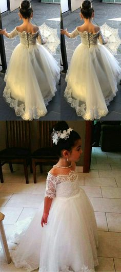 White Tulle Off the Shoulder Princess Kid's Wedding Gowns with Half Lace Sleeves