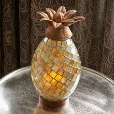 Smart Living Ananas Glass Mosaic Pineapple Indoor/Outdoor LED Candle Lantern - 83009