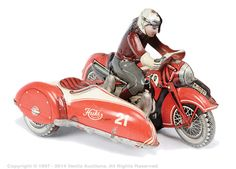 Huki (Germany) No.K1021 tinplate clockwork Motorcycle and Sidecar - scarce early example made in the US zone of Germany