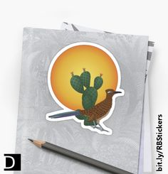 This die-cut sticker features an American southwest desert scene of a roadrunner standing in front of a prickly pear cactus and a large yellow sun. https://www.redbubble.com/people/debidalio/works/12140864-soul-of-the-southwest?p=sticker #StudioDalio animal art stationery Redbubble