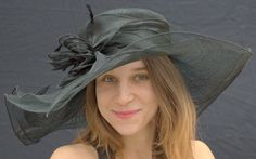 Sinamay Straw Women's Hat, Wide Brim Hat for the Kentucky Derby
