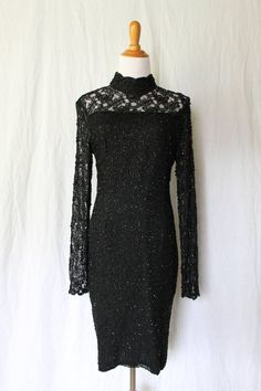STENAY Elegant Glass Beaded Dress Sexy Silk Little Black Long Sleeve Gown Sz 12 #Stenay #Sheath #Cocktail
