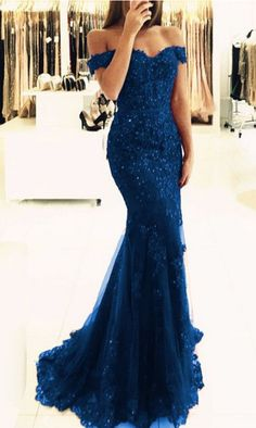 elegant navy blue lace prom dresses off the #prom #promdress #dress #eveningdress #evening #fashion #love #shopping #art #dress #women #mermaid #SEXY #SexyGirl #PromDresses