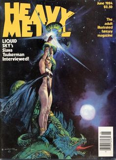 "gods-of-the-wasteland: "" Heavy Metal Magazine Vol. 8 No. 3 June Cover illustration by Esteban Maroto. Heavy Metal Movie, Heavy Metal Girl, Heavy Metal Rock, Heavy Metal 1981, Metal Magazine, Magazine Art, Magazine Covers, Pulp Magazine, Fantasy Comics"