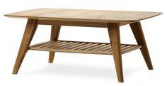 Retro soffbord i lättskött material. Bordet har vinklade ben och hylla för lättåtkomlig förvaring. Köp gärna till TV-bänk och matplatsmöbler i samma serie.