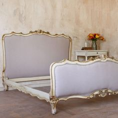 lavender upholstery antique French bed from Layla Grace