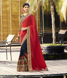 Buy Apparels- Red and Navy Blue Colour Heavy Work Wedding Wear Saree