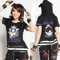 Black and White Stripe Skull Short Sleeve Hooded Punk Emo Tunic Tops SKU-11409275