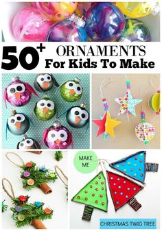 A great list of 50+ Ornaments For Kids To Make for Christmas. These are all so cute that you'll want to make all of them with your kiddos.