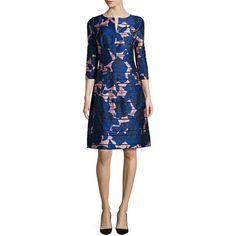 Oscar de la Renta Metallic Rose-Print 3/4-Sleeve Dress ($1,000) ❤ liked on Polyvore featuring dresses, soft pink, blue striped dress, oscar de la renta dresses, floral print dress, blue floral dress and 3/4 sleeve dress