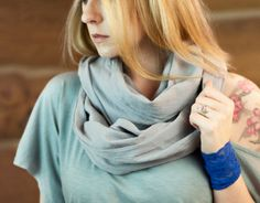 Grey Cotton Infinity Scarf Gray Cotton Gazue by ForgottenCotton