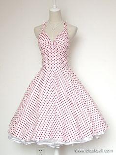 5a1cfc7923 50s 60s Rockabilly Dress Vintage Polka Dots Swing Jive Dress FDW0028W -  50's Rockabilly Dress Aranyos