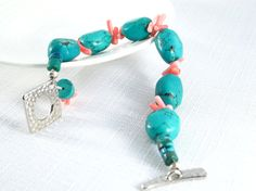 Bracelet Turquoise with Pink Coral  Free Shipping  by tresorbox, $30.00