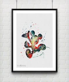 Mickey Mouse Watercolor Poster Print Disney Baby Nursery Decor by VIVIDEDITIONS