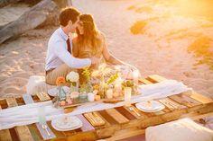 Romantic beach sunset dinner #couple #love