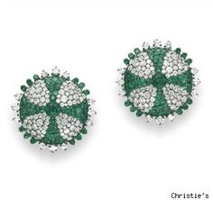 JAR emerald and diamond ear clips; love the green and how graphic this is.