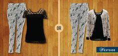 Westside is one of the most trendy store Make a bold statement with this gorgeous printed trouser by Wardrobe.  Which top would you pair it with? #LeftOrRight