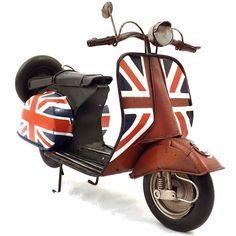 Miniatura de Motocicleta Inglesa - Em Metal - 32x18 cm | Carro de Mola - Decorar faz bem.