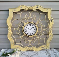 """Fabulous French Country Ex-Large Square Wall Clock- 25"""" Wood & Iron UpCycled Yellow. $69.00, via Etsy."""