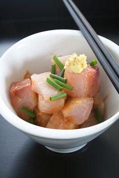 Kampachi Sashimi with Miso Dressing by Lara Ferroni, via Flickr