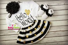 black and Gold heart, just born, Take Home Outfit Newborn Hospital Outfit Going Home Outfit Coming Home Outfit