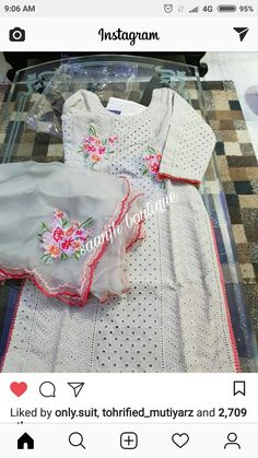 Embroidery Suits Punjabi, Hand Embroidery Dress, Embroidery Suits Design, Embroidery Fashion, Embroidered Clothes, Machine Embroidery, Embroidery Designs, Punjabi Suits Designer Boutique, Boutique Suits