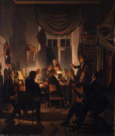 A Smoking Party, 1827-28 by Wilhelm Bendz (Danish 1804-1832)