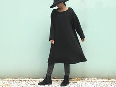 black winter cotton dress loose leisure large by Sunflowercloth