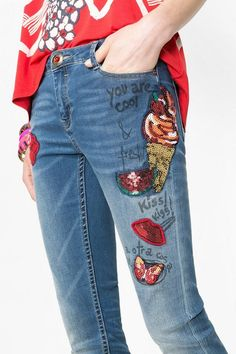 Slim fit sequined jeans | Desigual.com