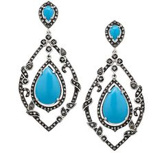 NEW! Tracey Bregman Turquoise & Diamond Sterling Silver Drop Earrings set is the perfect addition to our collection.#traceybregmancollection #consciousliving