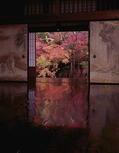 Japanese traditional house shows sliding doors, called Fusuma, connecting to outdoor vista.