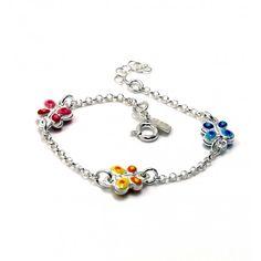 c435550cff04  Pulsera infantil de Plata de ley con mariposas de colores Aquí tenemos un  precioso diseño