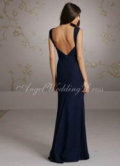 A-Line Floor Length Chiffon Bridemaid Dress Style BD81585