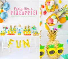 Party Like a Pineapple birthday party via Kara Allen | Kara's Party Ideas | KarasPartyIdeas.com Pineapple party ideas, supplies, recipes, decor and more!
