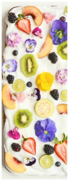 Yogurt Sheet Cake Recipe with Fruit & Edible Flowers ~ Delicious, light and refreshing