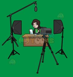 A female news anchor reading the news :  A woman with dark brown hair wearing a black suit sitting on a chair behind a light brown desk placed on a green screen area in front of several lights boom microphone and camera set of a studio as she holds a white paper in her right hand  The post A female news anchor reading the news appeared first on VectorToons.com.