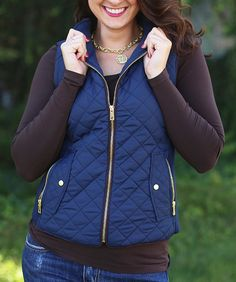 Fall In Love Puffer Vest in Navy