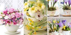 Ideas para decorar con tazas de té y flores