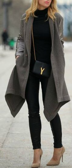 I like the coat - fitted like a blazer at the top and long and loose at bottom. I own black leather leggings and nude heels. would love to own the YSL purse :)