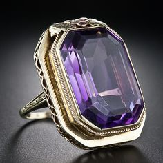 1930s Amethyst Ring. Great detail work on the ring, it makes a nice statement piece without being over the top.