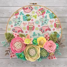 Handmade felt flower embroidery hoop. Hoop measures 9.