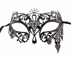 Goddess of Sun Black Metal Filigree Mask, Laser Cut Masquerade Ball Mask, Detailed with Clear Swarovski Rhinestones (For Her)