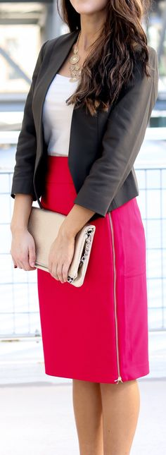 Black Blazer / White Top / Pink Zipped Skirt