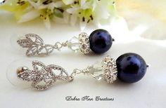 Swarovski Crystal Deep Purple Pearl Earrings by DebraAnnCreations
