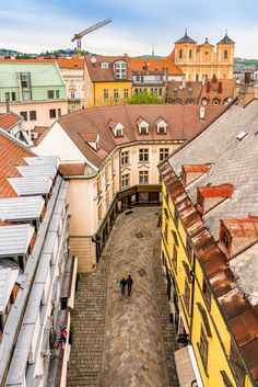 This view to the Michalska street is offered by Michael's gate tower, that is only preserved gate of medieval fortification of Bratislava old town. Most Beautiful Cities, Beautiful World, Places To Travel, Places To Visit, Solo Travel, Travel List, All European Countries, Bratislava Slovakia, Capital City