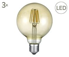 LED-Filament Leuchtmittel E27 Globe, 3 Stück, Ø 10 cm