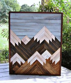 Handmade reclaimed wood art featuring a multiple mountain design. Several pieces of wood are connected together to create a scenic design. All of our wood is rescued and re-purposed from Central Pa and surrounding areas to create a truly unique piece of a Reclaimed Wood Wall Art, Salvaged Wood, Wooden Wall Art, Wall Wood, Rustic Wood, Wood Projects For Beginners, Diy Wood Projects, Wood Crafts, Art Projects